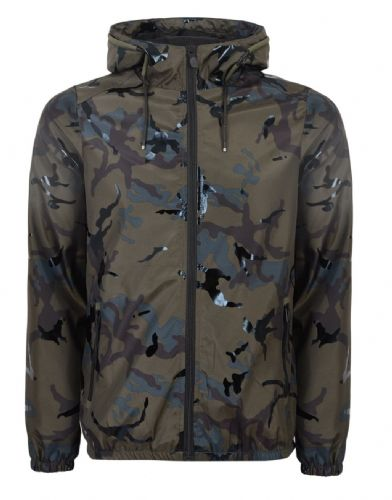 Fargo  Mens Designer Camouflage Hooded  Wind Runner Jacket  Green